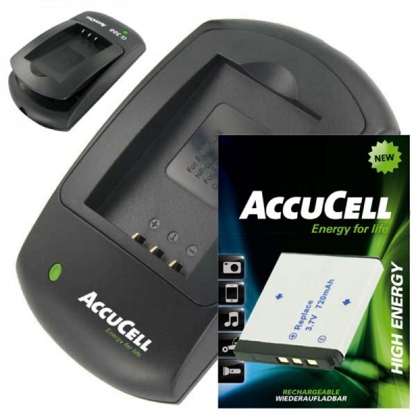 AccuCell Ladegerät und Akku passend für Rollei XS-10 in Touch