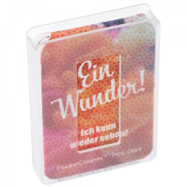 PocketCleaner Brillen-Putztuch, Smartphone- oder Tabletputztuch im Kunststoff-Etui, Design sortiert