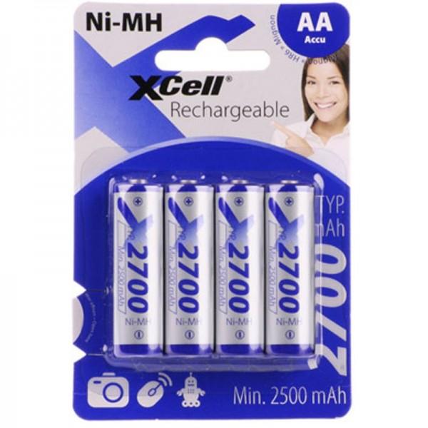 XCell NiMH Akku Mignon AA LR6 HR6 mit 2700mAh