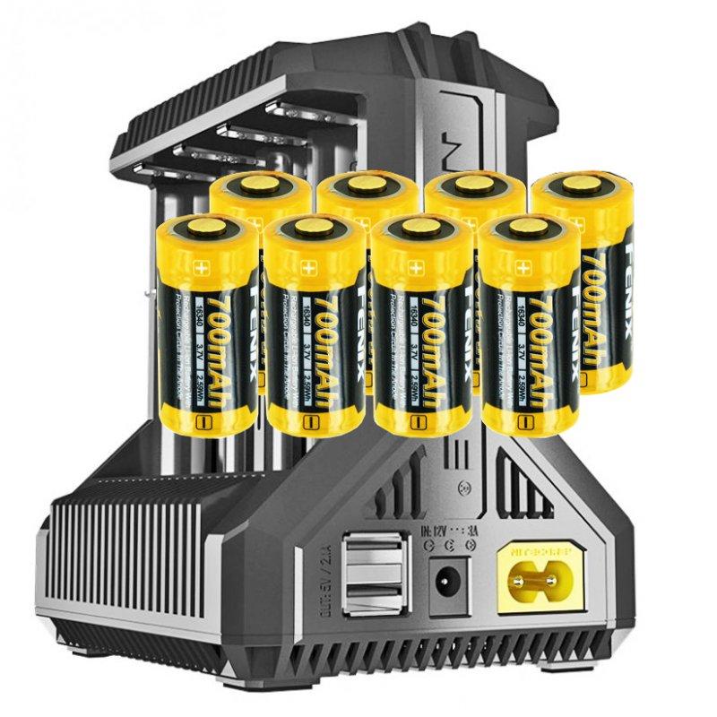 8 Stück CR123 A Li Ion Akku mit 3,7 Volt, 760mAh und 8fach