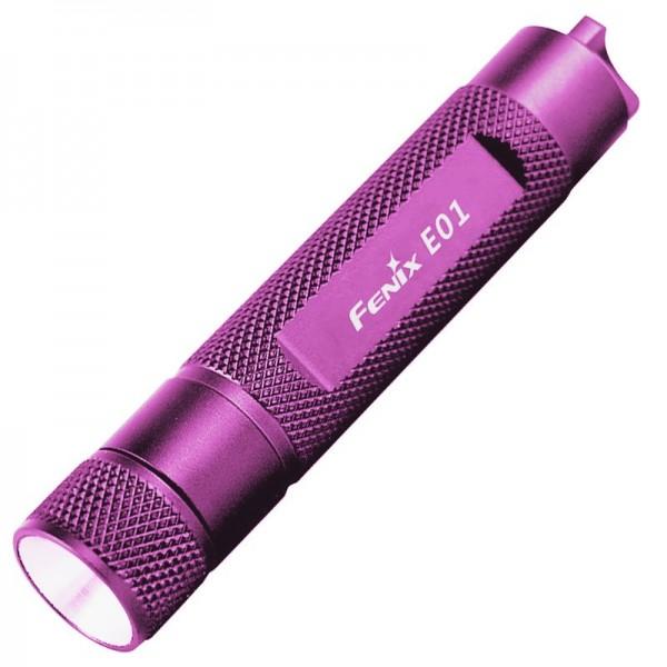 Fenix E01 LED Taschenlampe mit 13 Lumen, purple ideal für den Schlüsselbund
