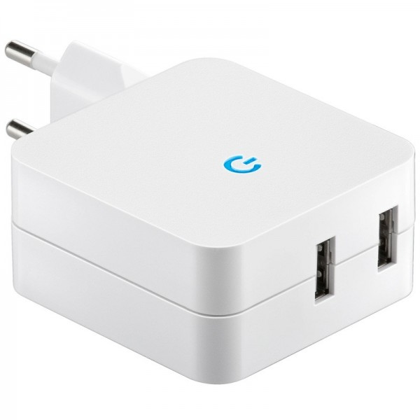 USB Ladeadapter von 230 Volt Steckdose auf USB, 2x USB Ausgang max. Ausgang 4,2A