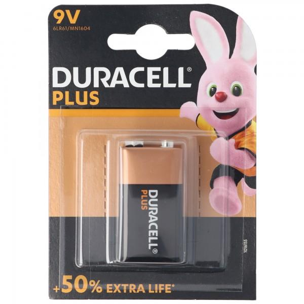 DURACELL Plus 9 Volt/6LR61 1er Pack 9V Alkaline Batterie E-Block