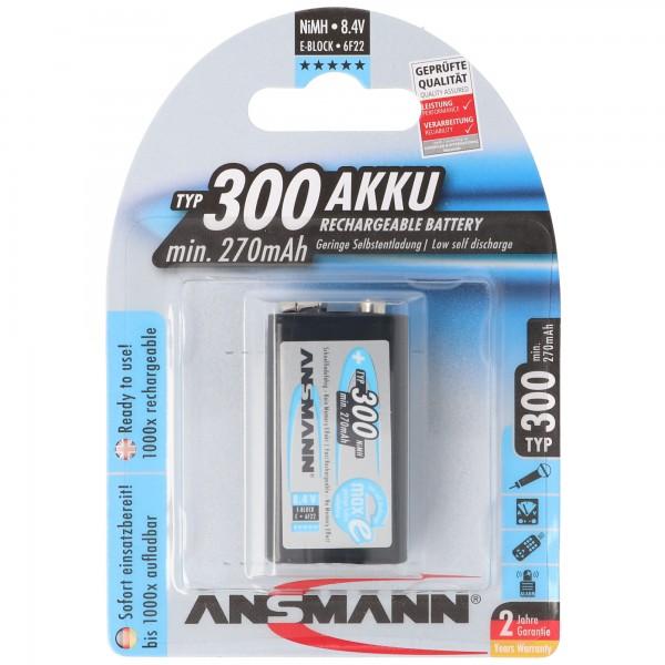 NiMH E Typ. 300 min. 270mAh NiMH-Akku 9V-Block E, 6F22, 8.4 Volt