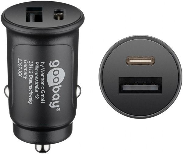 Dual-USB Auto Schnellladegerät USB-CTM Power Delivery, Ladeadapter für Kfz, lädt Geräte über USB-A und USB-C, speziell für Apple iPhone und iPad